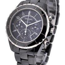 Chanel H0940 J12 Black Chronograph in Black Ceramic - on Black...