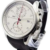 IWC Portuguese Yacht Club Chronograph pre-owned 45.4mm Silver Chronograph Rubber