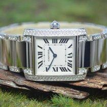 Cartier neu Quarz 25mm Weißgold Glas