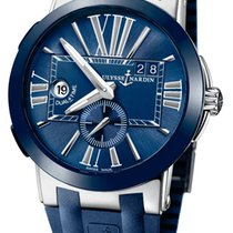 Ulysse Nardin Executive Dual Time pre-owned 43mm Blue Date GMT Rubber