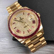 Rolex Day-Date 40mm Yellow Gold Ruby Diamonds Rare Ref. 228238