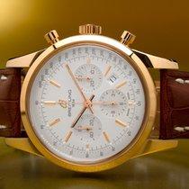 Breitling Rotgold Automatik Silber Keine Ziffern 43mm gebraucht Transocean Chronograph