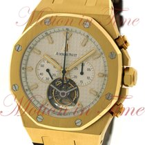 Audemars Piguet Yellow gold Manual winding Silver No numerals 44mm pre-owned Royal Oak Tourbillon