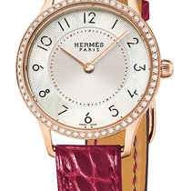 Hermès Rose gold Quartz Mother of pearl 25mm new Slim d'Hermès