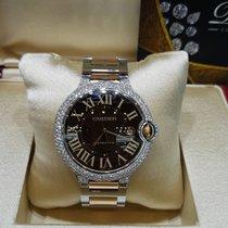 Cartier Ballon Bleu 42mm brown dial after market diamond setting