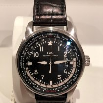 IWC Pilot Worldtimer pre-owned 45mm Black Date GMT Crocodile skin