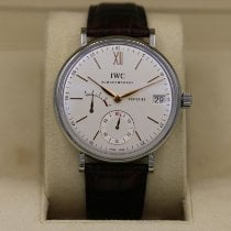 IWC Portofino Hand-Wound pre-owned 45mm White Date Crocodile skin