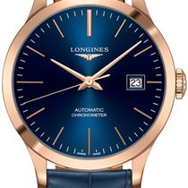 Longines Record Rose gold 38.5mm Blue United States of America, New York, Airmont