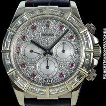 Rolex Daytona 16589 18k White Gold Baguette Diamond Bezel Pave...