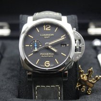 Panerai Luminor 1950 3 Days GMT Automatic PAM01535 Panerai LUMINOR GMT Carica Acciaio Nero Pelle 42mm nouveau