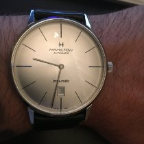 Hamilton Intra-Matic pre-owned 42mm Silver Date Leather