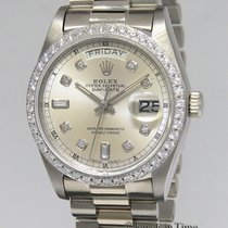 Rolex White gold Automatic Silver 36mm pre-owned Day-Date