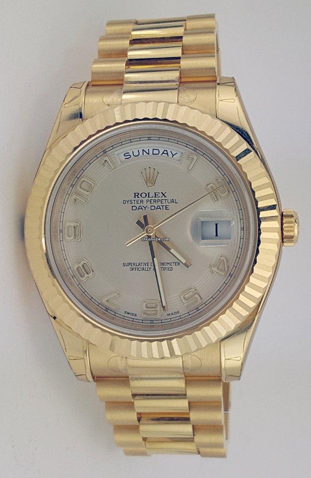 Rolex Day Date Ii President Yellow Gold Fluted Bezel Ref