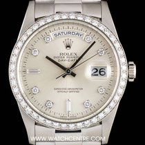 Rolex Platinum Silver Dial Diamond Set Day-Date Gents B&P...