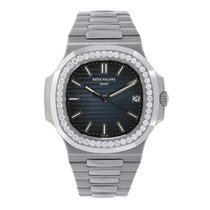 Patek Philippe Nautilus 40 18K White Gold Diamond Bezel Watch...