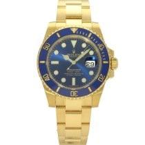 Rolex Submariner Date Zuto zlato 40mm Plav-modar Arapski brojevi