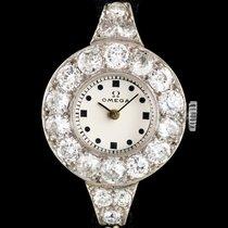 Omega Platinum White Gold Diamond Set Vintage Ladies Wristwatch