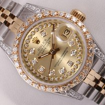Rolex Lady Datejust 18k Steel-Champagne String Diamond...