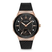 Bulova CURV ROSE GOLD AND BLACK ON RUBBER WITH DIAMONDS