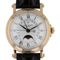 Patek Philippe Perpetual Calendar pre-owned 36mm White Moon phase Date Month 4-year calendar Perpetual calendar Crocodile skin