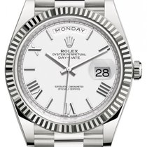 Rolex Day-Date 40 Or blanc 40mm Blanc Romains