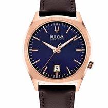 Bulova Accutron II 2 SURVEYOR Blue Dial / Rose Gold / Brown...