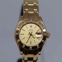 Rolex Lady-Datejust Pearlmaster Żółte złoto 29mm Biały Rzymskie