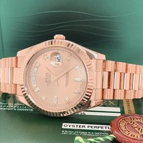 Rolex Day-Date II Rose gold 41mm Pink No numerals