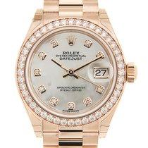 勞力士 Lady Datejust 18 K Rose Gold With Diamonds White Automatic...