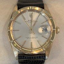 Rolex Oyster Perpetual Date Żółte złoto 34mm Srebrny Bez cyfr