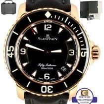 블랑팡 MINT Blancpain Fifty Fathoms 18K Rose Gold 45mm Black Dive...