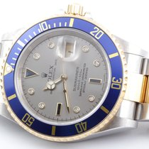 Rolex Mens 18K/SS Submariner - Slate Serti Dial - No Holes...