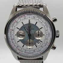 Breitling Transocean Chronograph Unitime Stahl 46mm Weiß