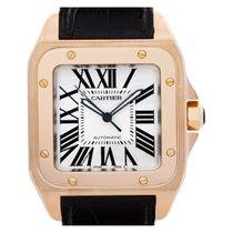 Cartier Santos 100 Pозовое золото 38mm Белый Римские