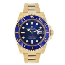 Rolex SUBMARINER 18K Yellow Gold Watch Blue Ceramic