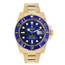 Rolex SUBMARINER 18K Yellow Gold Watch Blue Ceramic