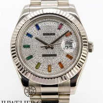 Rolex Day-Date II gebraucht 41mm Schwarz Datum Weißgold