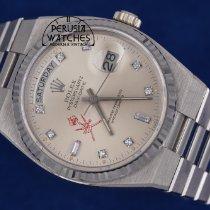 Rolex Day-Date Oysterquartz Or blanc 36mm Argent Sans chiffres
