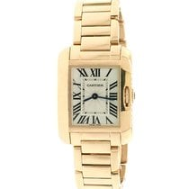 Cartier Rose gold Quartz Silver Roman numerals 23mm pre-owned Tank Anglaise