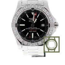 Breitling Avenger II GMT Diamond Bezel Black Dial Full Steel NEW