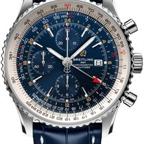 Breitling Navitimer GMT Stal 46mm Niebieski