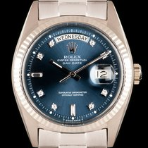 Rolex Day-Date 36 Or blanc 36mm Bleu