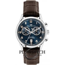Philip Watch Sunray Steel 49mm Blue Arabic numerals