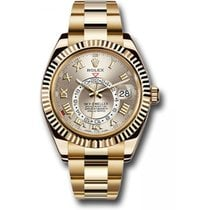 Rolex Yellow gold Automatic Silver Roman numerals 41mm new Sky-Dweller