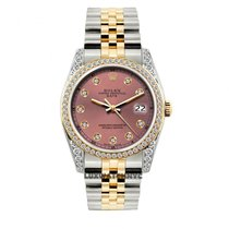 Rolex Date Unisex 34mm Pink Dial Stainless Steel And Gold...