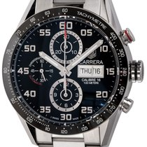 TAG Heuer Carrera Calibre 16 pre-owned 43mm Black Chronograph Date Weekday Tachymeter Fold clasp