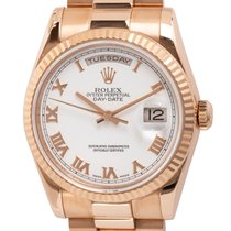 Rolex Rose gold Automatic White Roman numerals 36mm pre-owned Day-Date 36