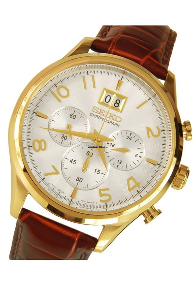 Seiko Classic Chronograph NEO SPC088 SPC088P1 Brown Leather Casual Mens Watch