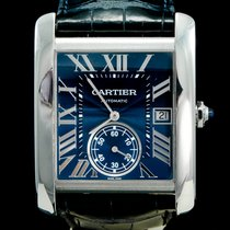 Cartier Tank MC Steel 34mm Blue Roman numerals