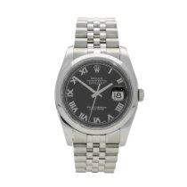 Rolex Datejust Steel 36mm Black Roman numerals